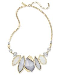 INC International Concepts | Metallic Bead Stone Imitation Pearl Gold-tone Statement Necklace | Lyst