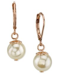 2028 | Metallic Rose Gold-tone Imitation Pearl Drop Earrings | Lyst