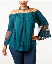 American Rag - Blue Trendy Plus Size Off-the-shoulder Top - Lyst