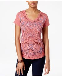 Style & Co. | Pink Petite Paisley-graphic V-neck T-shirt | Lyst