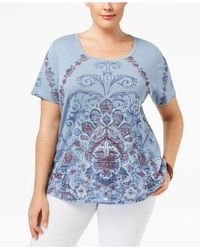 Style & Co. | Blue Plus Size Scroll-print Top | Lyst