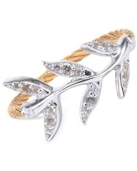 Charriol   Metallic Women's Laetitia White Topaz-accent Leaves Two-tone Pvd Stainless Steel Cable Ring   Lyst
