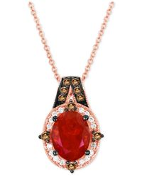 Le Vian - Red Fire Opal (9/10 Ct. T.w.) And Diamond (1/5 Ct. T.w.) Pendant Necklace In 14k Rose Gold - Lyst