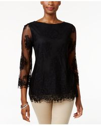 Charter Club | Black Petite Lace Top | Lyst