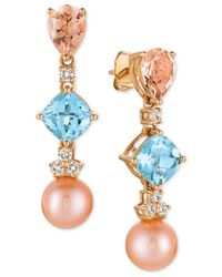 Le Vian   Multicolor Multi-gemstone (3-3/4 Ct. T.w.), Cultured Freshwater Pearl (9mm) And Diamond (1/3 Ct. T.w.) Drop Earrings In 14k Rose Gold   Lyst