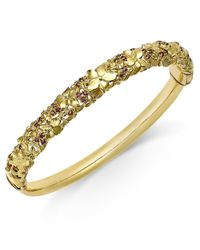 Macy's | Metallic Garnet Floral Openwork Bangle Bracelet (3/4 Ct. Tw.) In 14k Gold-plated Sterling Silver | Lyst