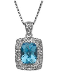 Macy's | Metallic Swiss Blue Topaz (2-1/5 Ct. T.w.) And Diamond (1/3 Ct. T.w.) Pendant Necklace In Sterling Silver | Lyst