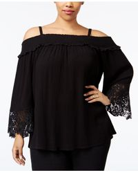dd31783596298 Lyst - INC International Concepts Plus Size Off-the-shoulder Lace ...