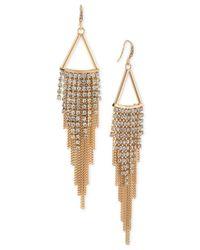 ABS By Allen Schwartz | Metallic Gold-tone Long Shimmery Fringe Chandelier Earrings | Lyst