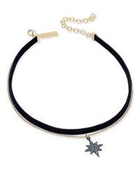 INC International Concepts - Metallic Two-tone Pavé Star Chain & Black Velvet Choker Necklace - Lyst
