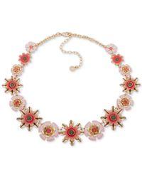"""Anne Klein Metallic Gold-tone Flower Link Collar Necklace, 16"""" + 3"""" Extender"""