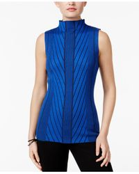 Joseph A   Blue Mock-neck Ribbed-knit Sweater   Lyst
