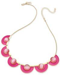 kate spade new york | Metallic Gold-tone Cat's Eye Stone Pink Enamel Necklace | Lyst