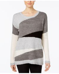 Vince Camuto | Gray Colorblocked Sweater | Lyst