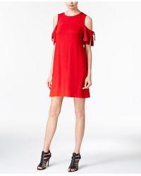 Kensie | Red Draped Cold-shoulder Shift Dress | Lyst