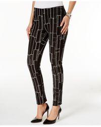 Alfani | Black Printed Skinny Pants | Lyst