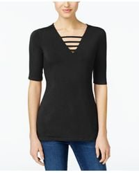 INC International Concepts | Black Petite Strappy V-neck Top | Lyst