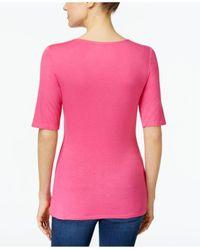 INC International Concepts - Pink V-neck Cutout Top - Lyst