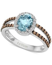 Le Vian | Metallic Aquamarine (1 Ct. T.w.) And Diamond (3/8 Ct. T.w.) Ring In 14k White Gold | Lyst
