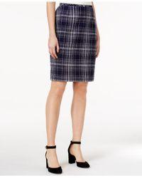 Tommy Hilfiger Blue Tweed Plaid Pencil Skirt