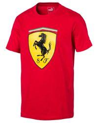 PUMA | Red Men's Ferrari Big Shield Cotton T-shirt for Men | Lyst