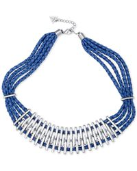 Guess - Metallic Silver-tone Multi-layer Blue Faux Leather Statement Necklace - Lyst