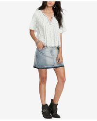 Denim & Supply Ralph Lauren - Blue Frayed Denim Skirt - Lyst