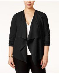Alfani | Black Plus Size Draped Open-front Cardigan | Lyst