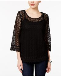 Style & Co. | Black Bell-sleeve Lace Top | Lyst