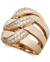 Effy Collection - Metallic Pave Rose By Effy Diamond Diamond Three Row Link Ring (1 Ct. T.w.) In 14k Rose Gold - Lyst
