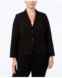 Calvin Klein Black Plus Size Jacket, Notched Collar Welt Pocket