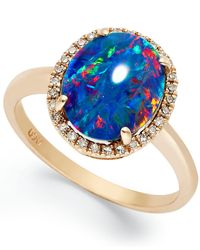 Macy's - Pink 14k Rose Gold Ring, Opal Triplet And Diamond (1/10 Ct. T.w.) Oval-shaped Ring - Lyst