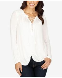Lucky Brand | White Lace-up Peasant Top | Lyst