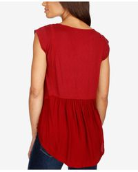 Lucky Brand - Embroidered Cap-sleeve Top - Lyst