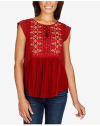 Lucky Brand | Embroidered Cap-sleeve Top | Lyst