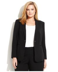 Calvin Klein Black Plus Size One-button Luxe Stretch Jacket