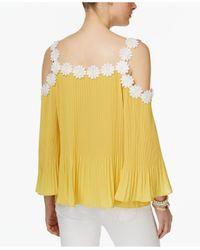 INC International Concepts - Yellow Petite Lace-trim Cold-shoulder Top - Lyst