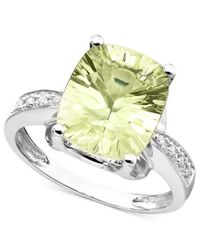 Macy's | Metallic 14k White Gold Ring, Green Quartz (4-3/8 Ct. T.w.) And Diamond Accent | Lyst