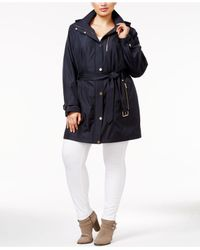 Michael Kors | Blue Plus Size Hooded Belted Raincoat | Lyst
