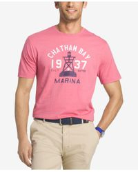 Izod - Pink Men's Graphic-print Cotton T-shirt for Men - Lyst