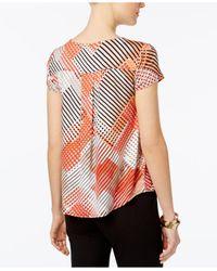 Alfani - Red Petite Printed Shirttail Top - Lyst