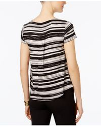 Alfani - Black Petite Striped Shirttail Top - Lyst