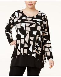 Alfani   Black Plus Size Printed Layered-look Top   Lyst