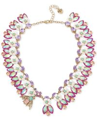 Betsey Johnson | Metallic Gold-tone Multi-stone Bee Necklace | Lyst