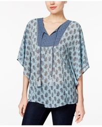 Style & Co. | Blue Printed Dolman-sleeve Top | Lyst