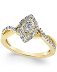 Macy's - Metallic Diamond Marquise Ring (1/4 Ct. T.w.) In 10k Gold - Lyst