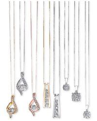 Macy's Metallic Diamond Unity Pendant Necklace (1/3 Ct. T.w.) In 14k White Gold