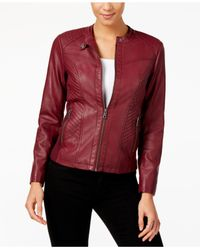 Style & Co. - Red Faux-leather Moto Jacket - Lyst