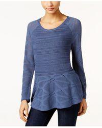 Style & Co.   Blue Long-sleeve Peplum Sweater   Lyst