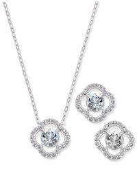 Danori | Metallic Silver-tone Pavé Pendant Necklace And Matching Stud Earrings Set | Lyst
